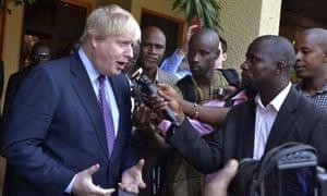 Boris Johnson speaks to the media before meeting the Gambian president.