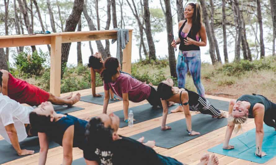 A yoga session.