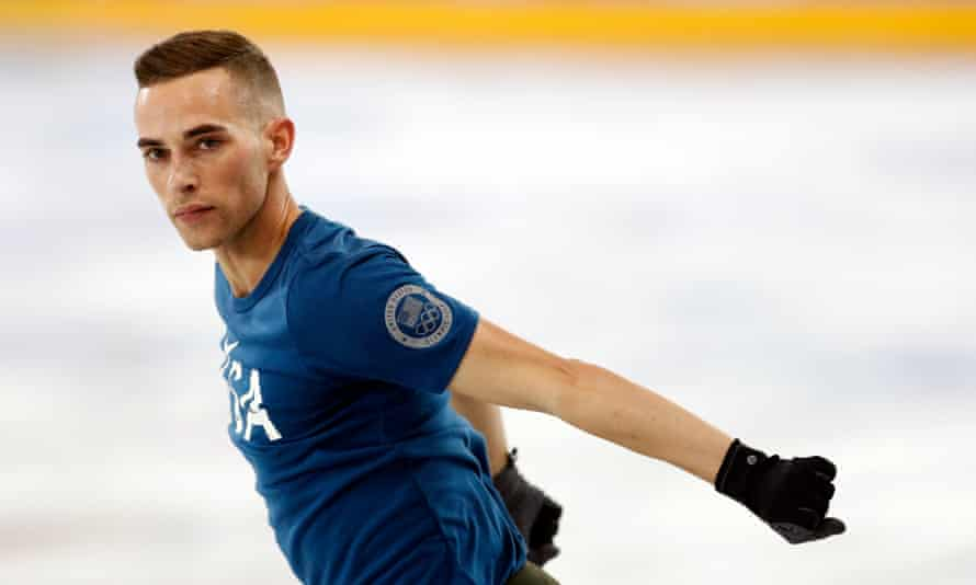 Adam Rippon practises on the ice in South Korea.