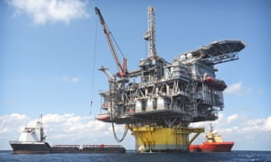 In about 8,000 feet of water, Shell's Perdido offshore drilling and production platform in the Gulf of Mexico is the world's deepest offshore rig.
