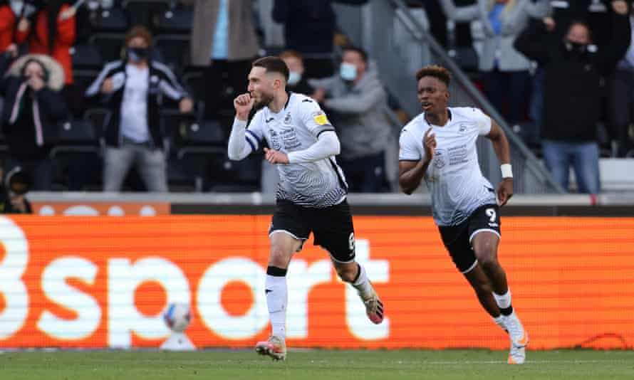Swansea's Matt Grimes celebrates his crucial first-half strike against Barnsley in the play-off semi-final.