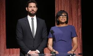 Call for change ... Cheryl Boone Isaacs with John Krasinski at the Oscar nominations.