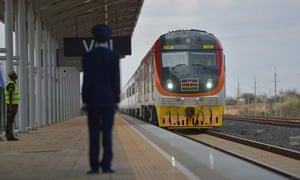 A train pulls into Voi railway station on 31 May on the newly opened Standard Gauge Railway.