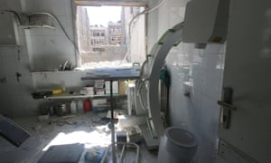 Damage inside a field hospital after airstrikes in a rebel-held area of Aleppo on Sunday.