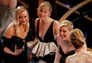 Margot Robbie, Saoirse Ronan and Greta Gerwig react as Jacqueline Durran wins the Oscar for best costume design for Little Women.