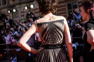 Haydn Gwynne wears an eye-catching dress.