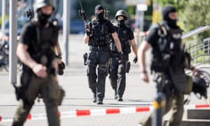 Armed police outside the cinema in Viernheim on referendum day.