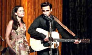 'I prefer my portrayal' … Joaquin Phoenix as Cash, with Reese Witherspoon as his wife June, in Walk the Line.