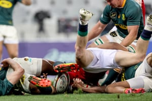 British & Irish Lions' Robbie Henshaw scores a try that was later disallowed after a review by TMO.