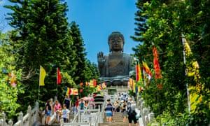 Chinese tourists at giant Buddha Hong Kong