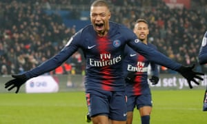 Kylian Mbappé celebrates scoring PSG's eighth and his third