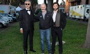 Andrea Bocelli, left, director Michael Radford, centre, and Toby Sebastian, who plays Bocelli in The Music of Silence.