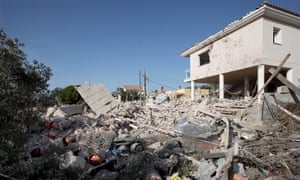Debris surrounds a house in Alcanar after an explosion. The terror cell had been using the house as a bomb factory.