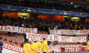 Munich supporters left their seats to protest high ticket prizes at the beginning of the Champions League match against Arsenal.
