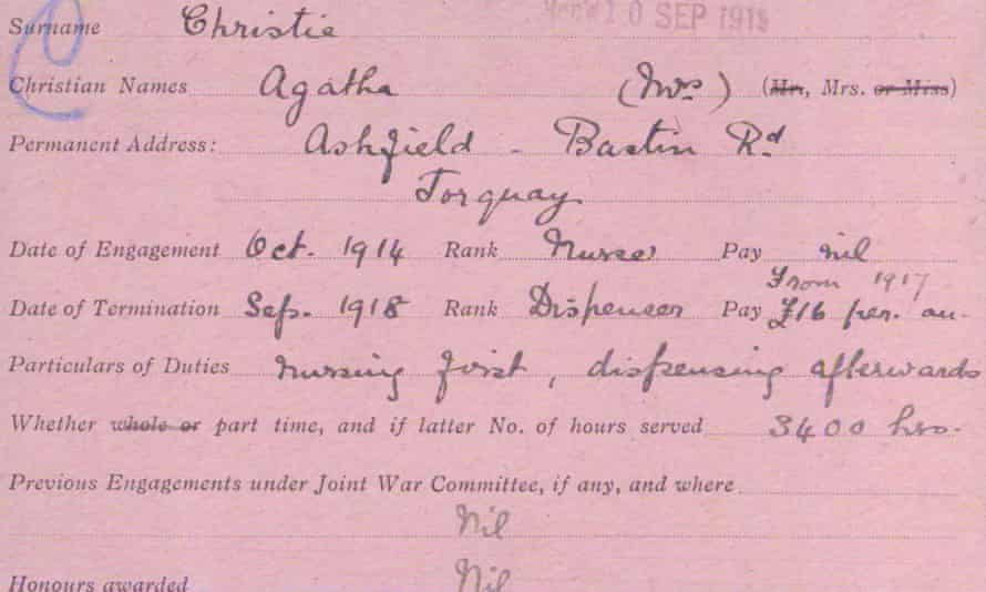 The record card giving details of Agatha Christie's engagement.