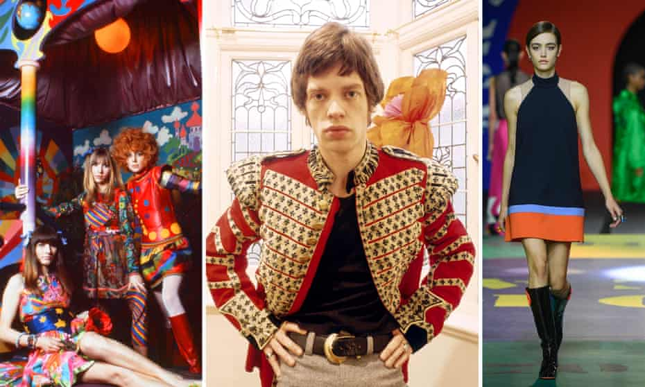 60s styles: from left, the Apple Boutique in the late 60s, Mick Jagger in a Grenadier Guards jacket in 1967, and a Dior minidress from this year's Paris fashion week.