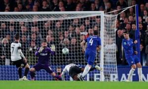 Cesc Fabregas fires in Chelsea's third goal.