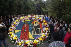 Pictures in flowers (silleta de flores) telling the Easter story are part of the Easter tradition in Medellin, Colombia.