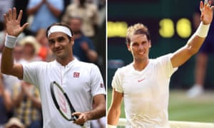 Roger Federer and Rafael Nadal acknowledge the Wimbledon crowd after their last-16 victories.