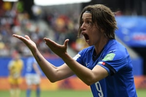 Italy's Daniela Sabatino reacts after her goal was disallowed.