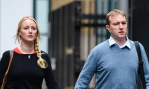 Tom Hayes arrives at Southwark crown court with his wife Sarah.
