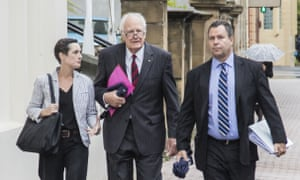 Former governor general Peter Hollingworth (centre) arrives at the royal commission into child sexual abuse in Hobart on Wednesday.