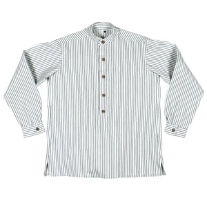 Collarless work shirt, £107, carriercompany.co.uk