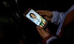 Kim Ryon-hui's mobile phone, with her background set to a photo of her daughter. Kim hopes to return to North Korea and be reunited with her family.