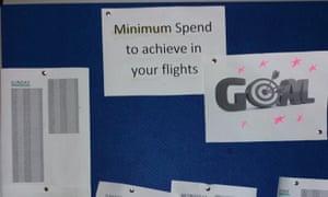 A noticeboard in a Ryanair crew room
