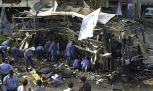 The aftermath of a 2002 bombing in Karachi, which targeted a bus transporting French engineers.