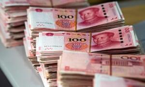 bundles of 100 yuan notes