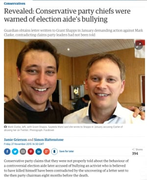 Guardian story on alleged bully by conservative aide Mark Clarke