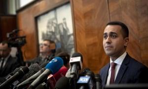Luigi Di Maio at a press conference in Rome on Monday.