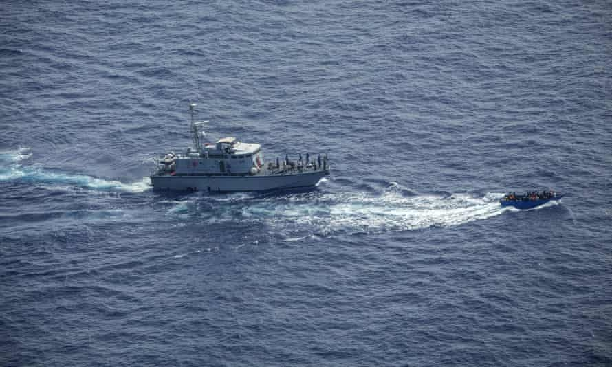A Sea-Watch video still showing Libyan coastguards pursuing the migrant boat in the Malta search and rescue zone of the Mediterranean.