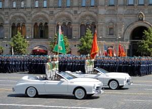 Turkmen soldiers drive cabriolets