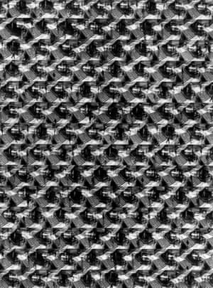 A Maze 'N Philadelphia, 1967/1984. This work by Ray Metzker from his Composites series is assembled from dozens of individual photographs showing pedestrian after pedestrian traversing the same staircase. Taken as a whole the assemblage evokes the titular maze and the curious pleasure of watching the endless passage of people from afar