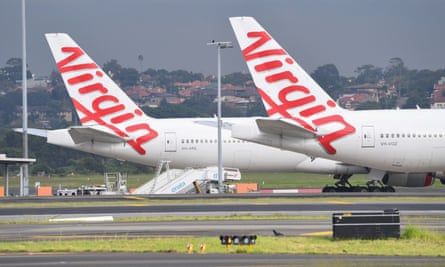Virgin Australia planes parked at Sydney airport