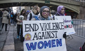Women and men march in Manhattan for Women's Rights
