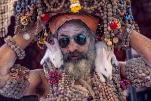 A Hindu holy man attends Kumbh Mela in Haridwar, India