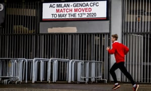 A notice at the San Siro gives the new date for Milan v Genoa, due to have been played on Sunday.