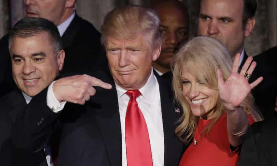 Donald Trump with campaign manager Kellyanne Conway after making his acceptance speech in November.