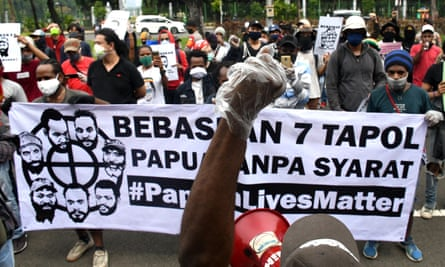 Papuan students hold a protest in Jakarta on 15 June demanding the government free seven Papuan activists who took part in anti-racism rallies.