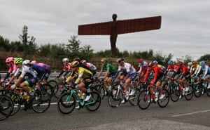 Gateshead, England The peloton rides past the Angel of the North during stage four, Gateshead to Kendal, of the OVO Energy Tour of Britain
