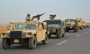 A column of Egyptian army armoured vehicles on the move