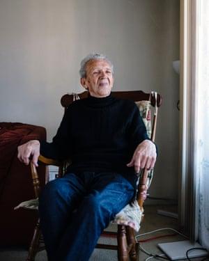 Musiy Rishin in his apartment in Alameda, California.
