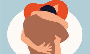 An illustration of a naked couple, from the waist up, in an embrace