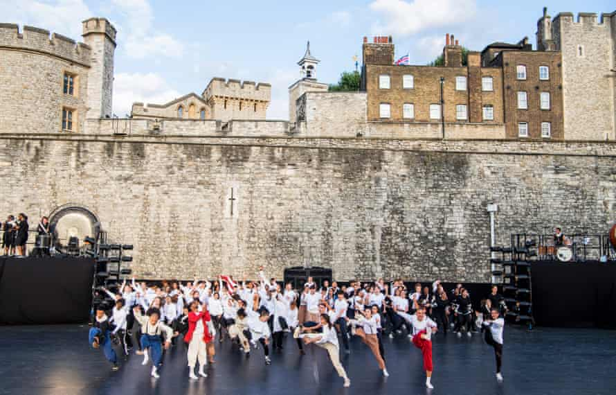 dancers and musicians fill the Tower of London moat for East Wall, directed by Hofesh Shechter, in 2018.