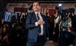 Benoit Hamon arrives to deliver a speech as part of his campaign for the left wing primary election in Paris.