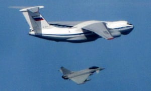 A Russian IL76 Candid aircraft being intercepted by a Royal Air Force Typhoon during the Baltic mission.