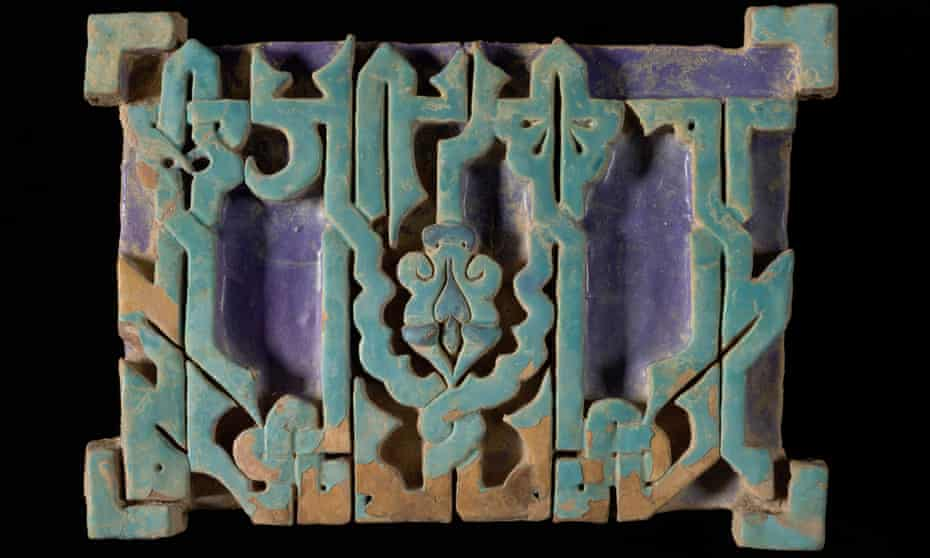 One of the six medieval Uzbek tiles smuggled into Heathrow in a suitcase